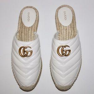 Gucci GG Marmont Matelasse White Espadrilles Mules